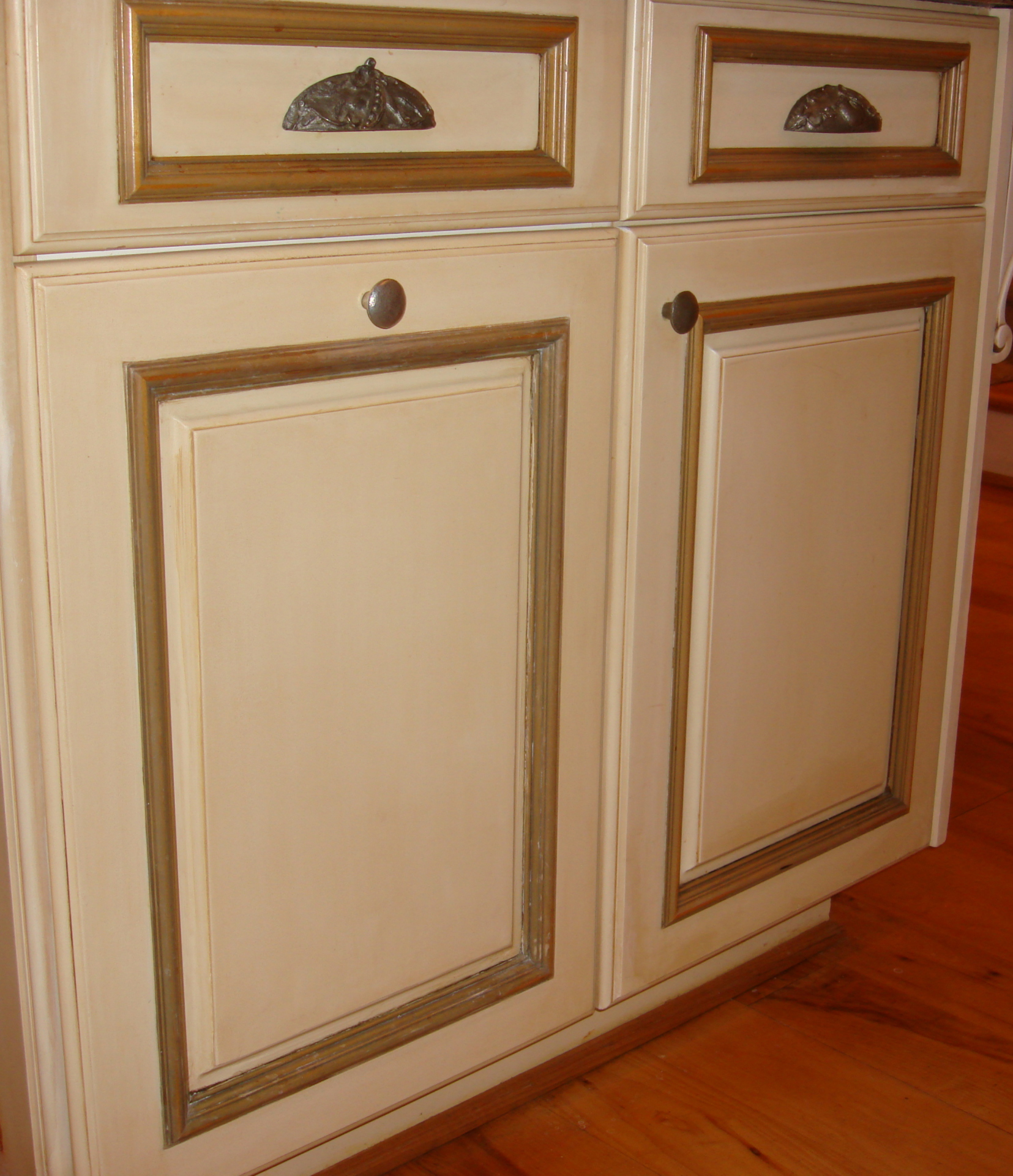 trash door repainted to match existing cabinets glazed gold accents raleigh nc