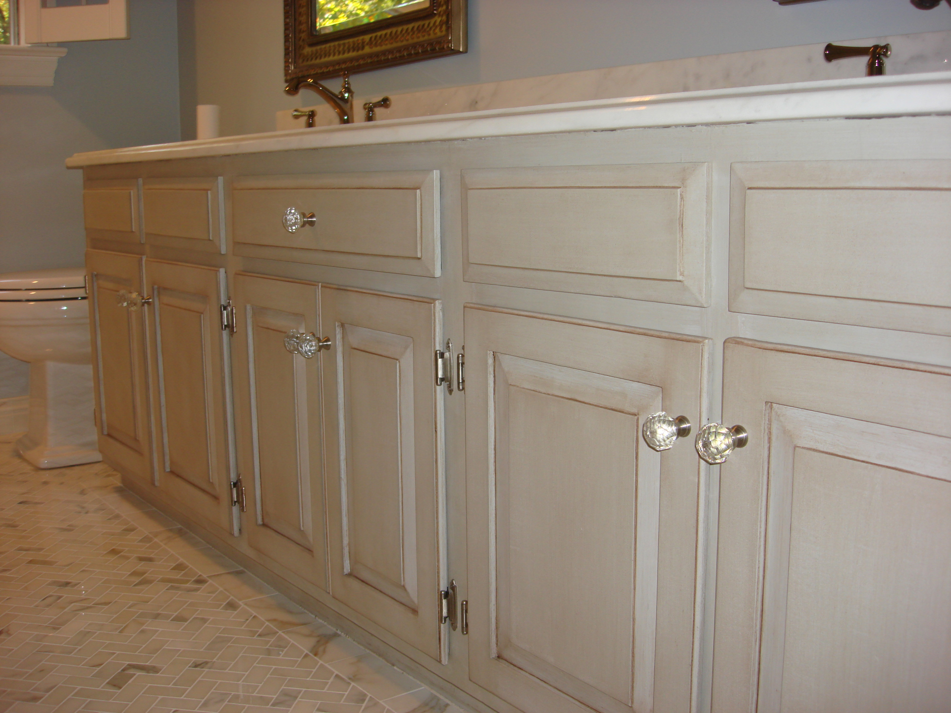 gray glazed oak cabinets raised panel bathroom  faux finish decorative paint raleigh