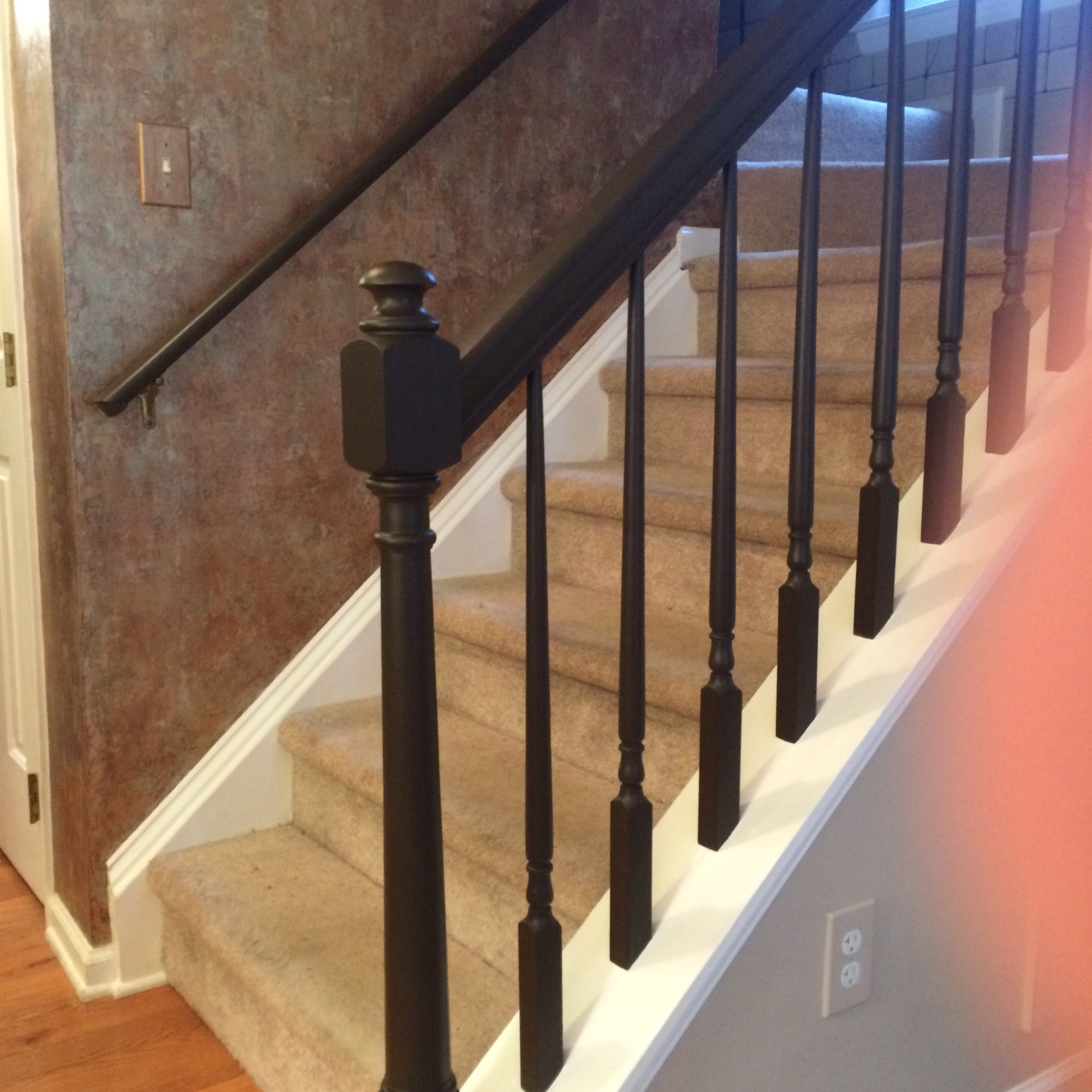 painted brown mocha beyond paint stair rails and post, fabulous finishes by michelle, dominion park, raleigh, nc