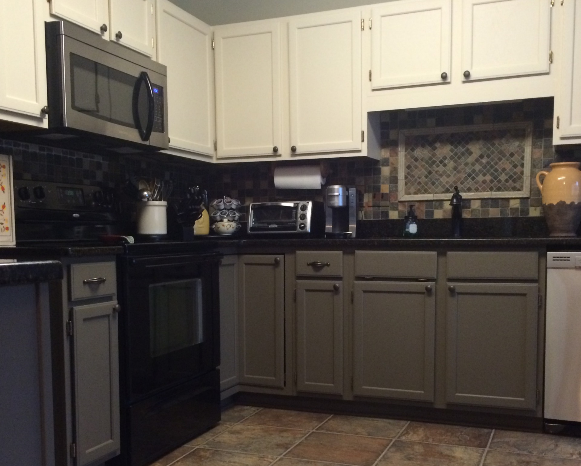 Reclaim Beyond paint off white custom green oak kitchen cabinets  faux finish decorative paint raleigh
