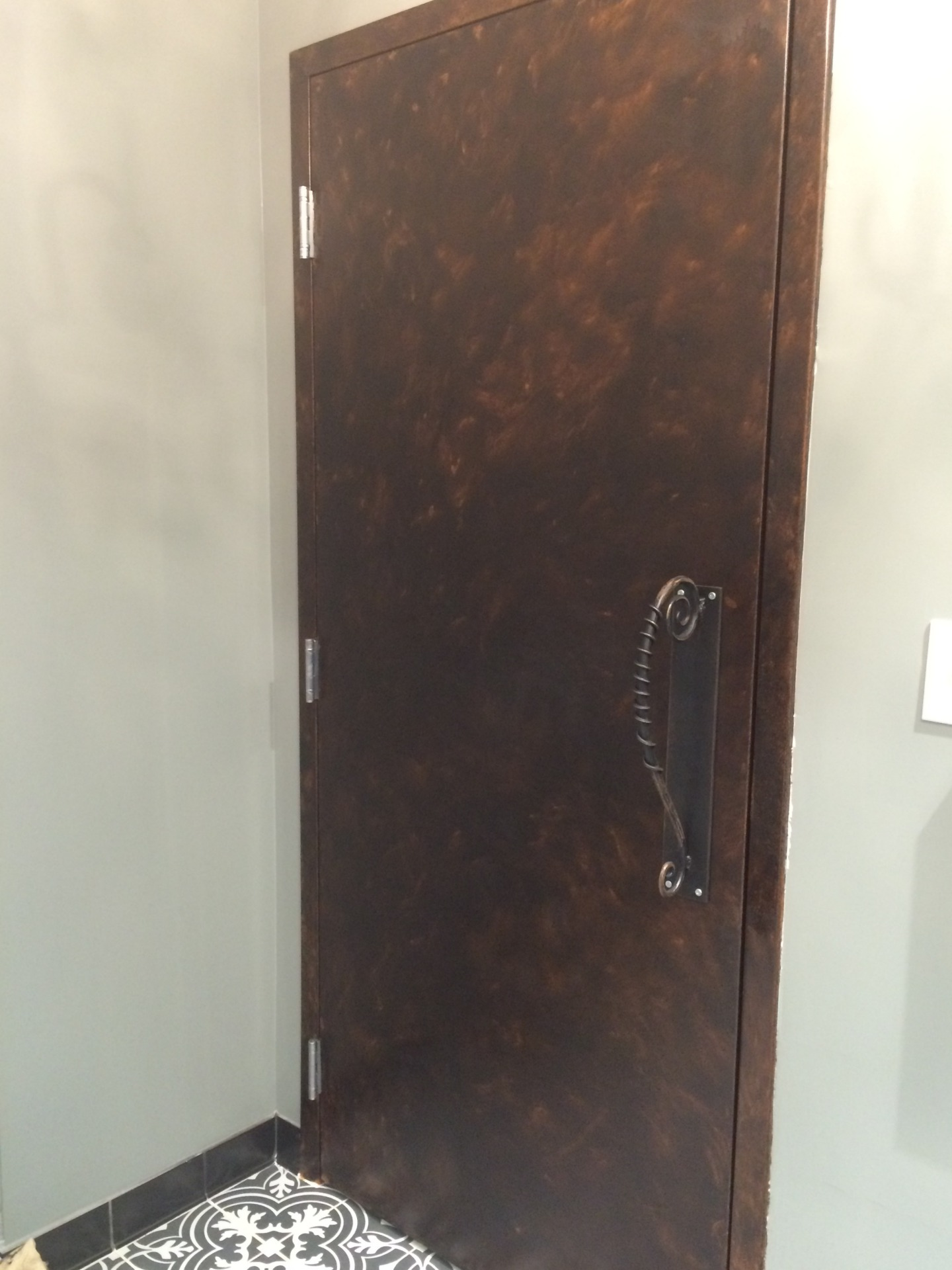 copper glaze metal bathroom door, industrial, warehouse, downtown raleigh, vita vite, fabulous finishes by michelle