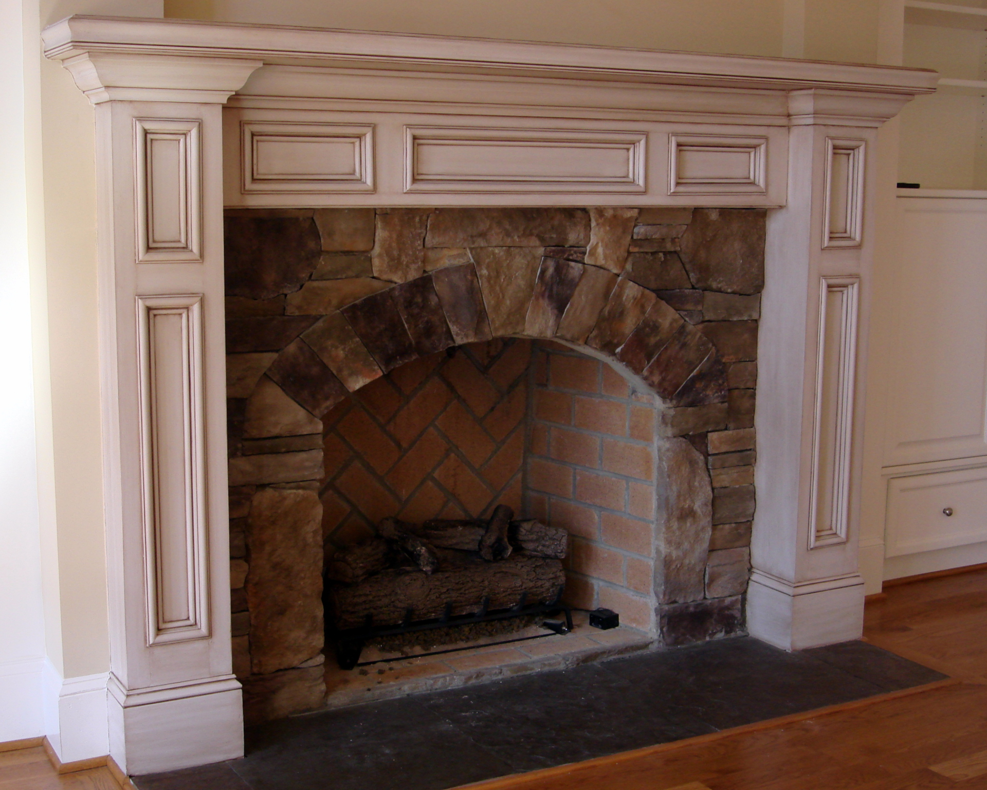 painted, glazed, mantel, fireplace, bedford, fabulous finishes by michelle