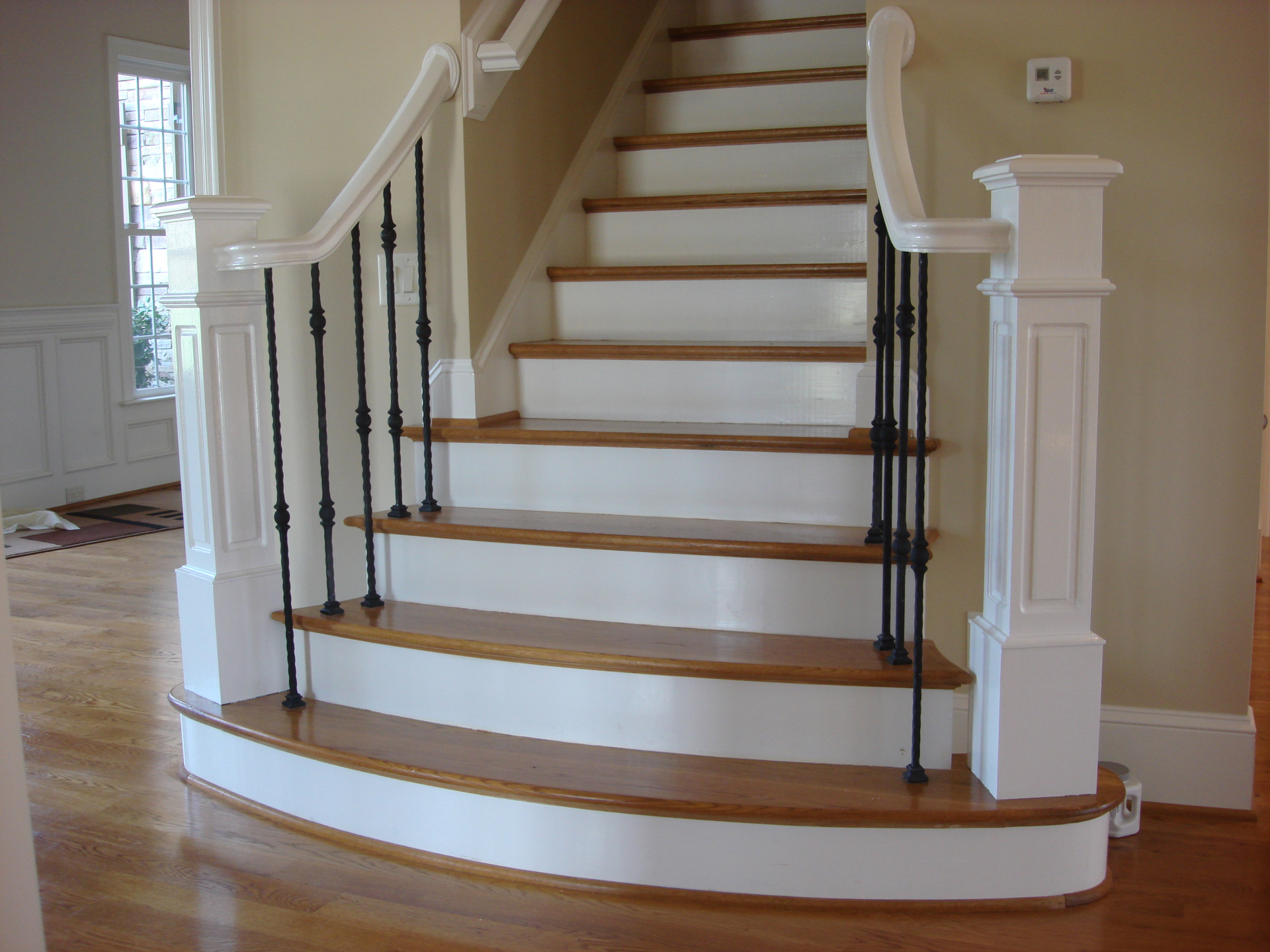 painted white paint stair rails and post, fabulous finishes by michelle, bedford