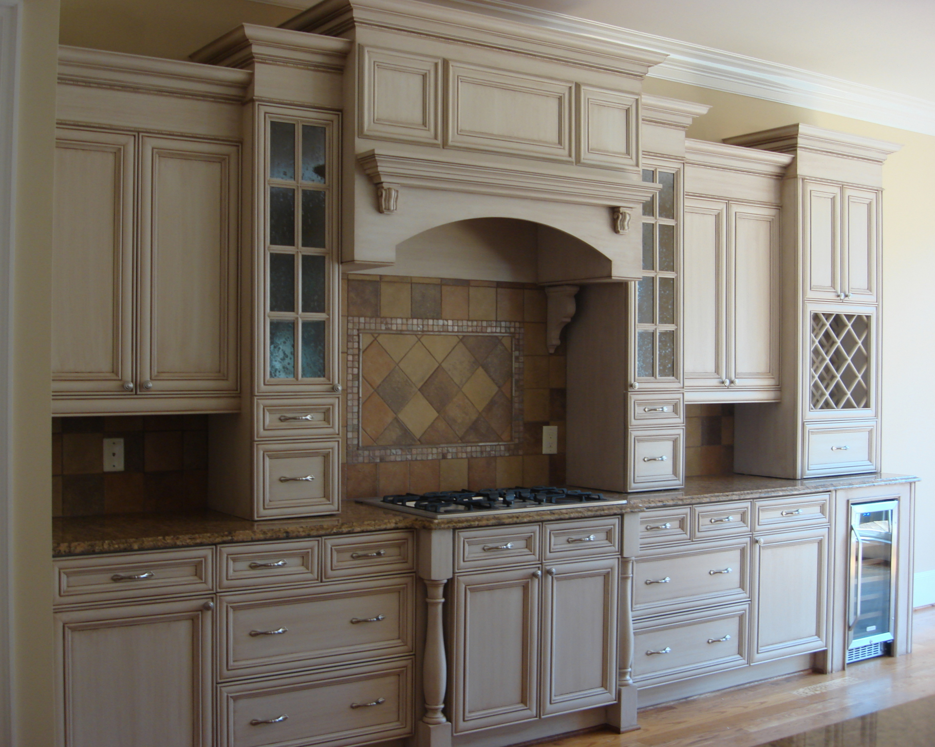 bedford painted glazed kitchen cabinets  faux finish decorative paint raleigh