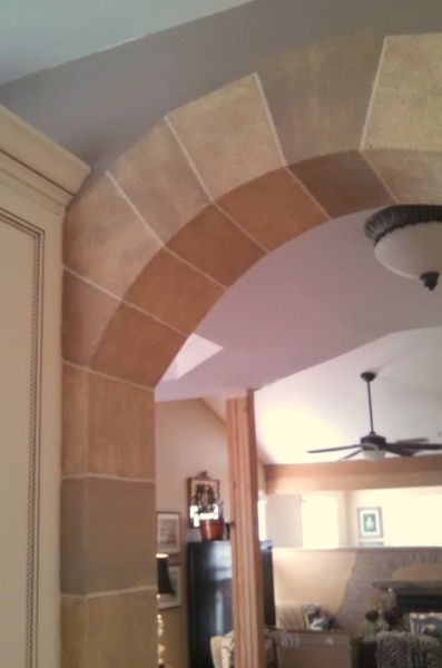 faux stone arch, textured, glazed, falls river, fabulous finishes by michelle
