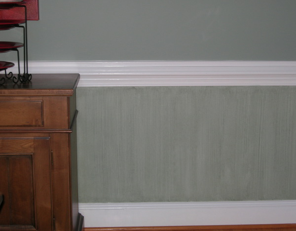 green strie below chairrail dining room  faux finish decorative paint raleigh
