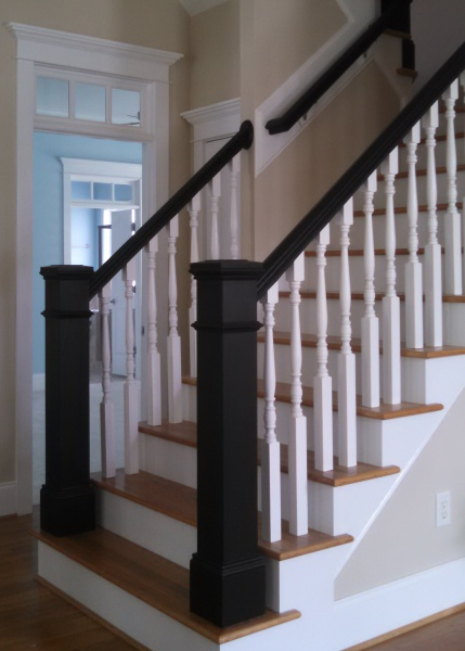 painted black licorice beyond paint stair rails and post, bedford, fabulous finishes by michelle