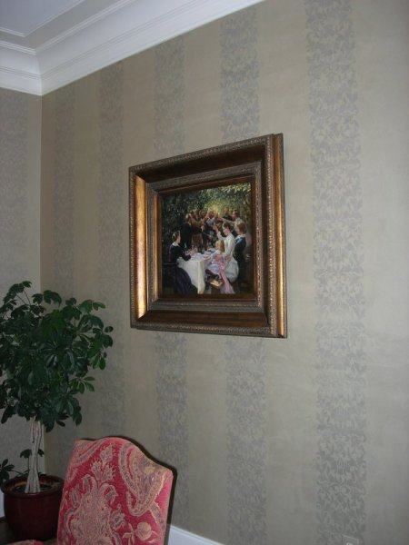 shimmered suede damask stripe dining room gray silver wake forest  faux finish decorative paint raleigh