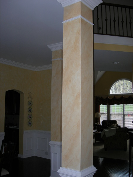 painted and glazed dining room column, wake forest, fabulous finishes by michelle
