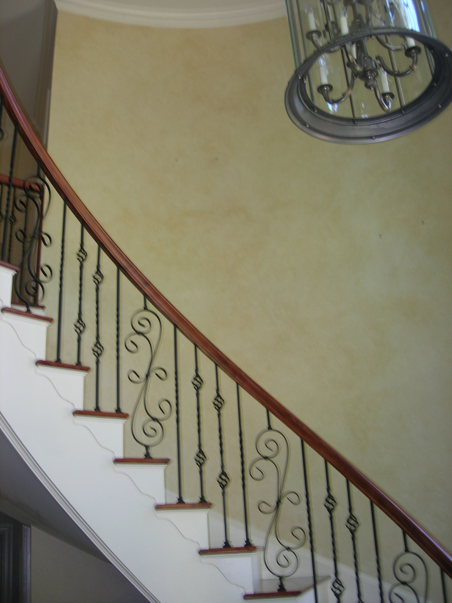 colorwash yellow foyer circular stairs sanford  faux finish decorative paint raleigh