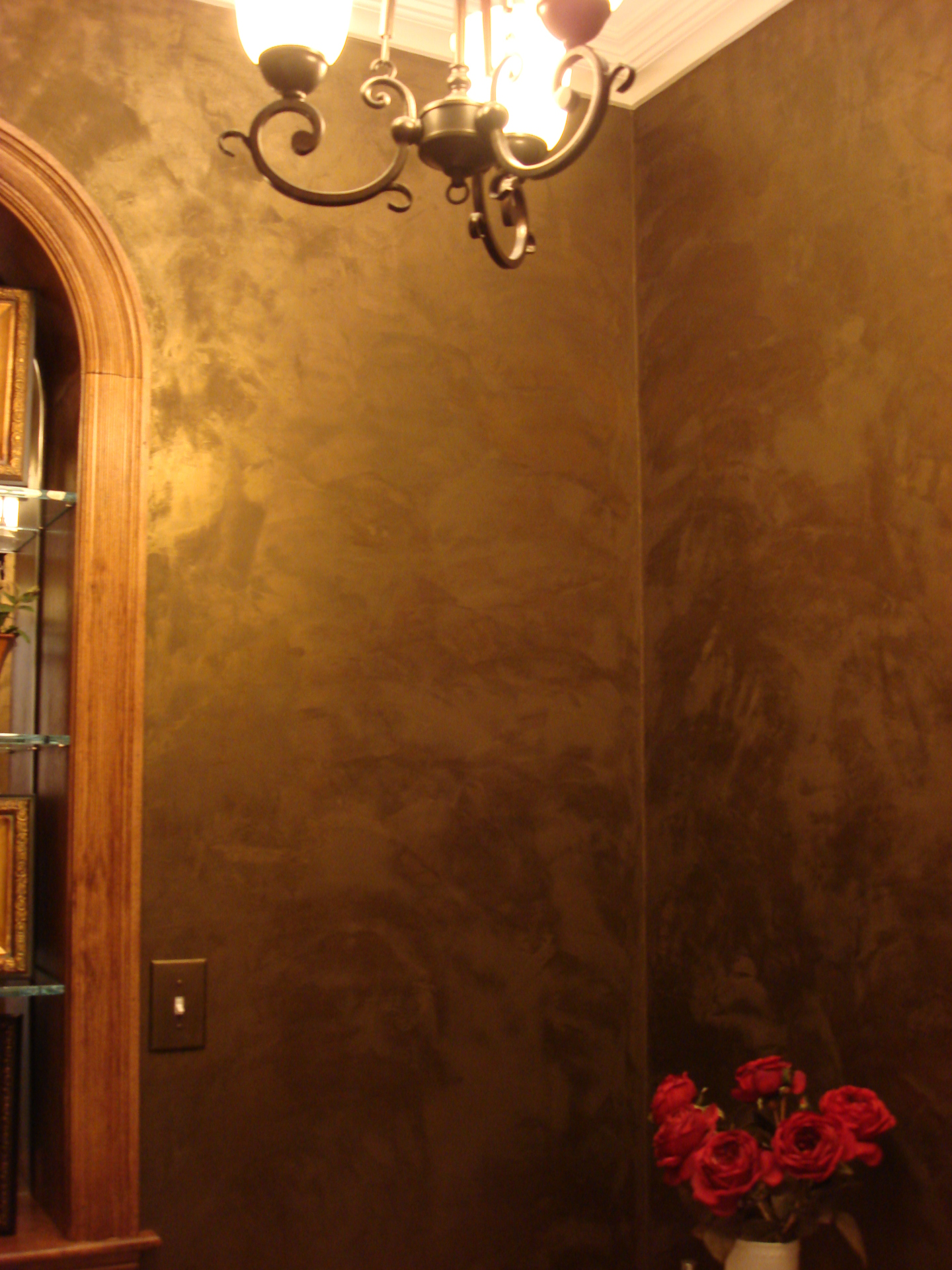 brazil nut portofino metallic plaster finish powder room wakefield faux finish decorative paint raleigh
