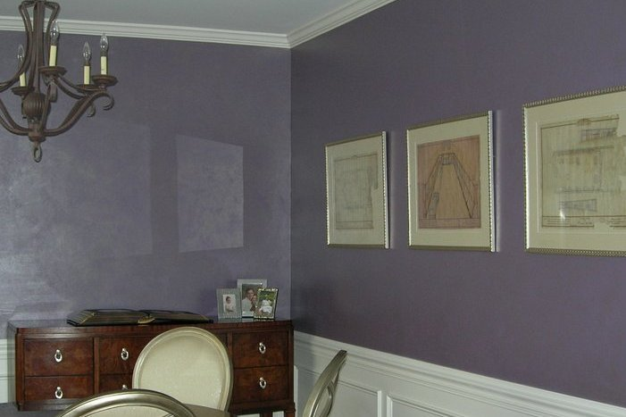 silver glaze over puple base finish dining room above wainscotting rolesville  faux finish decorative paint raleigh