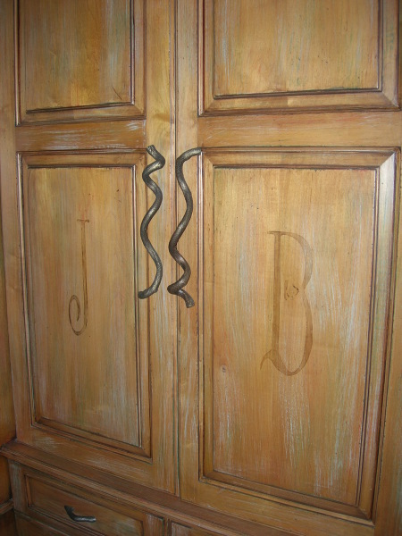 monogram stencil, mudroom cabinet doors, wakefield, fabulous finishes by michelle