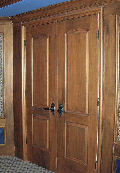 painted copper glaze doors, media room, wakefield plantation, fabulous finishes by michelle