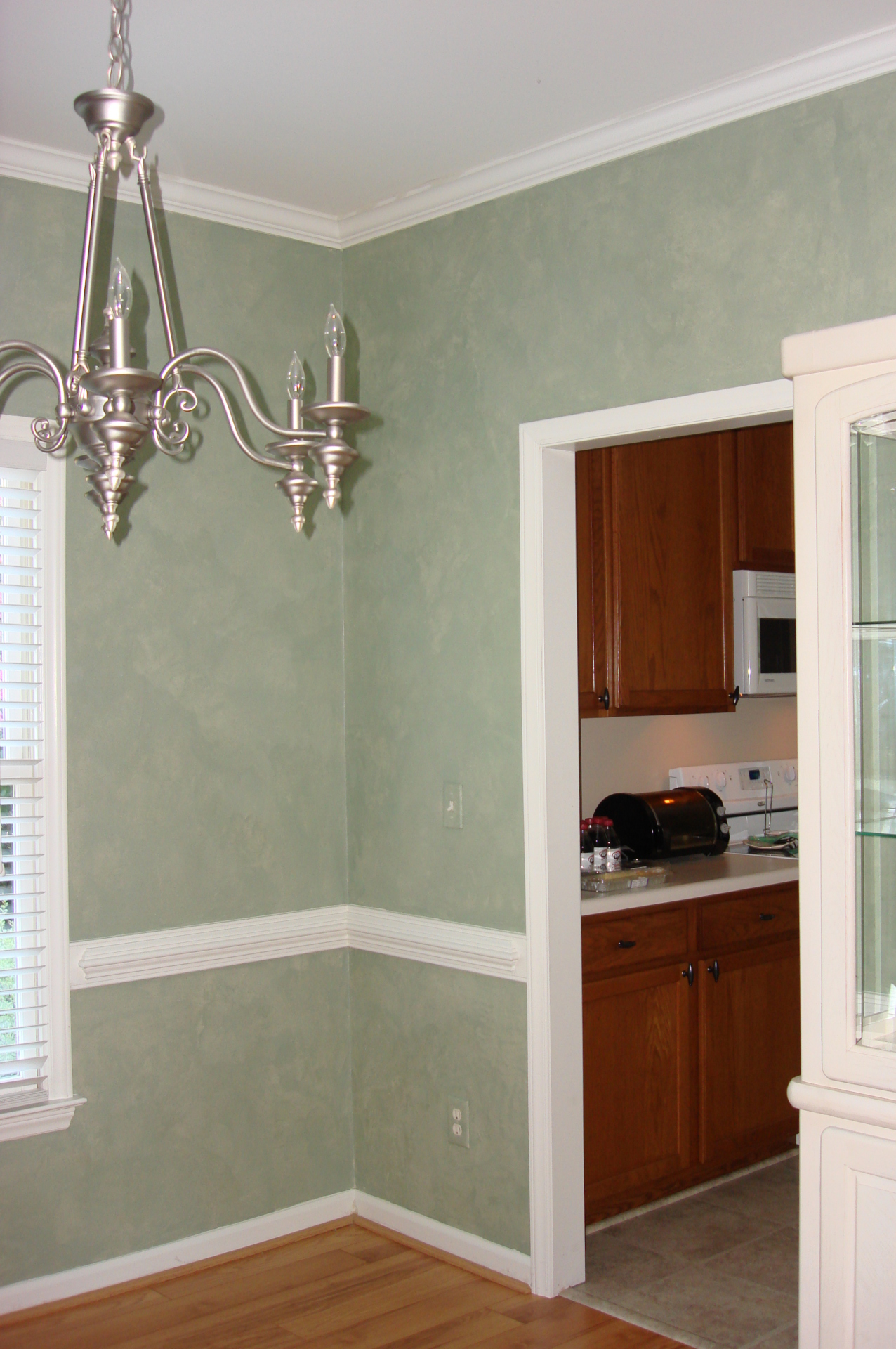 rough irregular texture under metallic plaster seafoam green dining room falls river  faux finish decorative paint raleigh