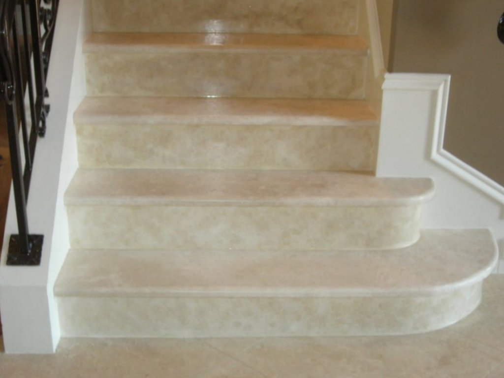 travertine risers, match stair treads, faux glazed, cary, fabulous finishes by michelle