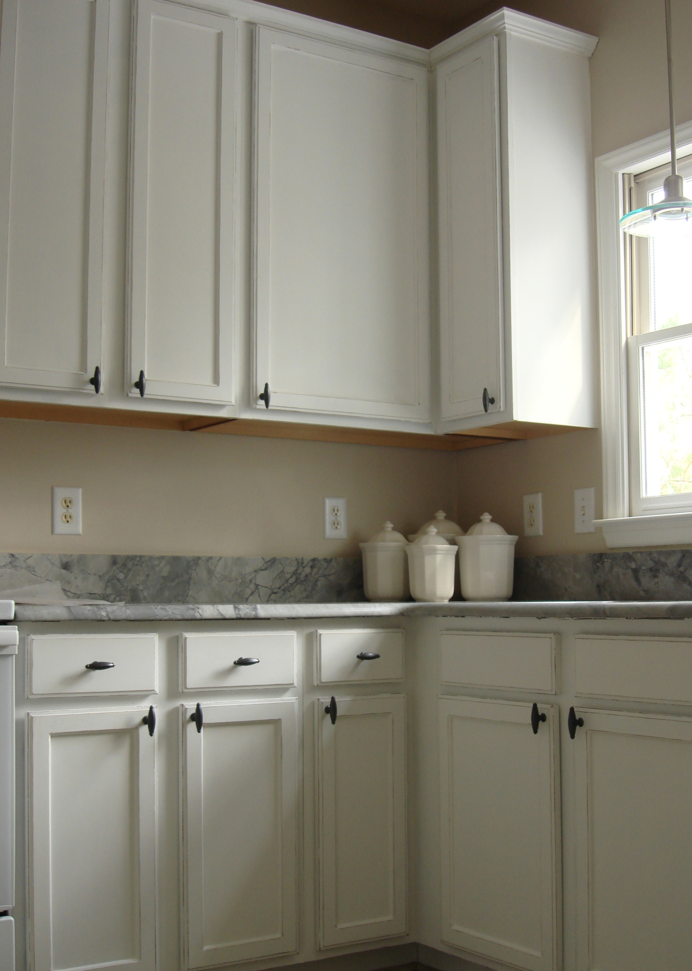 white distressed painted kitchen cabinets falls river  faux finish decorative paint raleigh