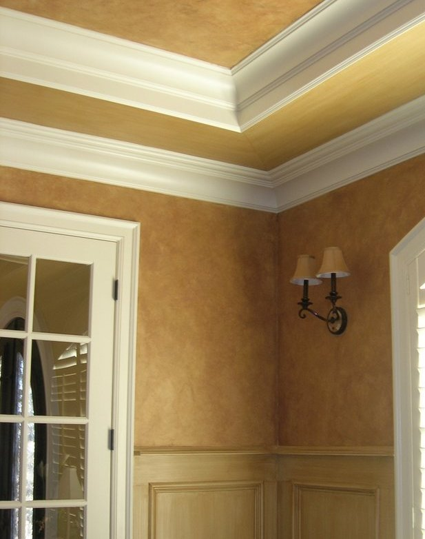 textured crackled glazed walls strie trim study wakefield faux finish decorative paint raleigh
