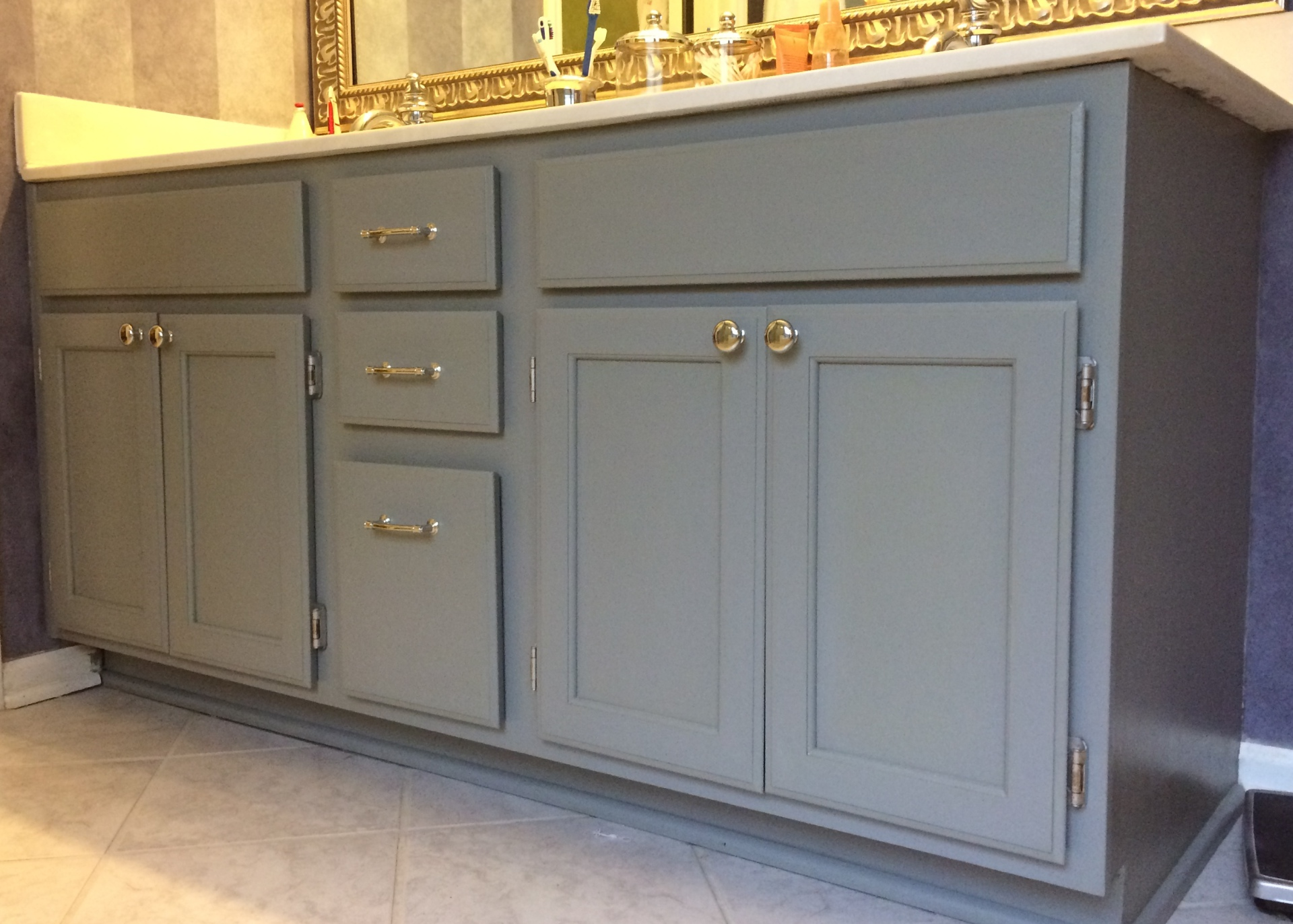 monahan botanicals salvia painted master bathroom cabinet vanily caromal colours  faux finish decorative paint raleigh