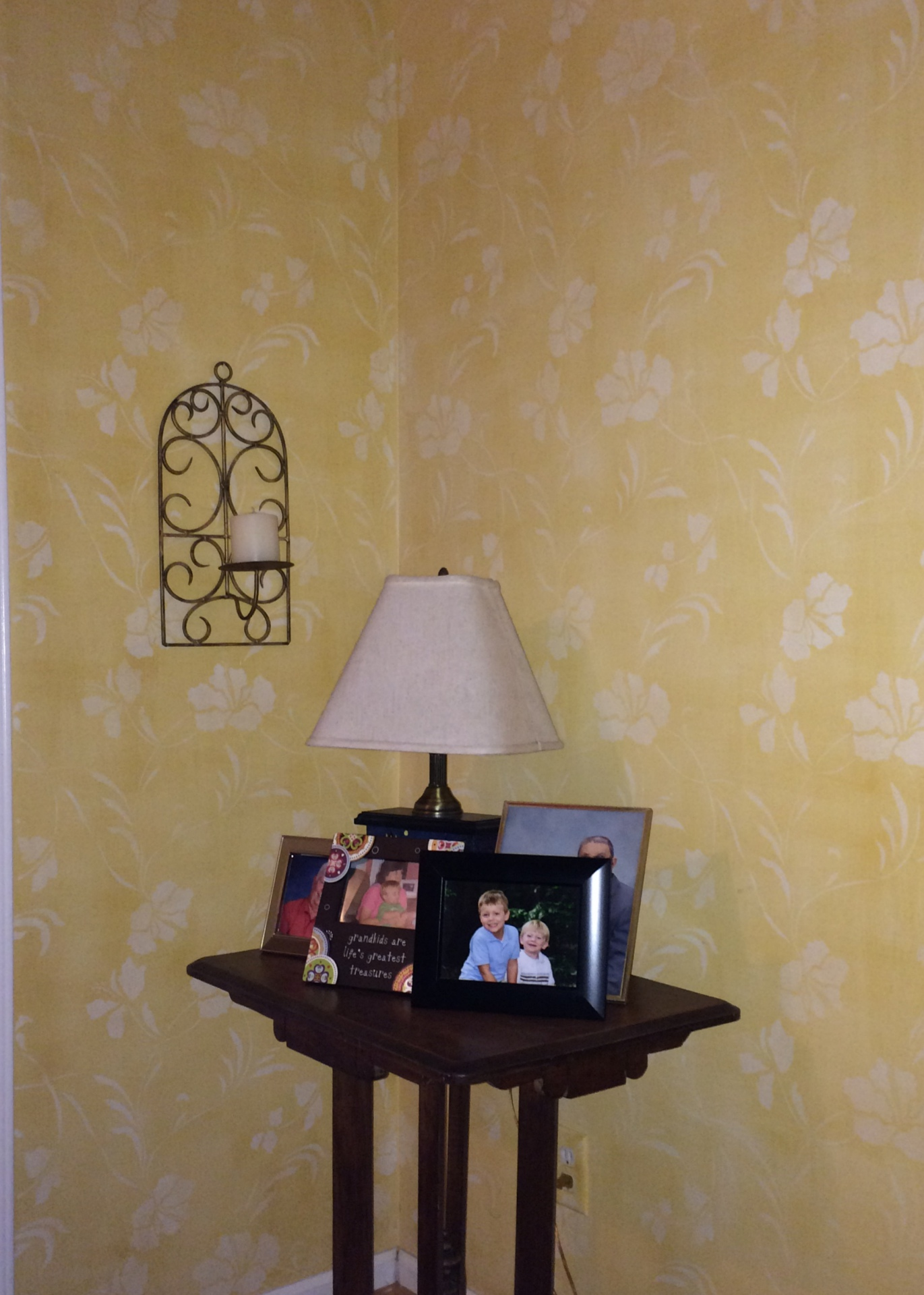 yellow linen finish with allover stencil wallovers Mikala's Tropic falls river faux finish decorative paint raleigh