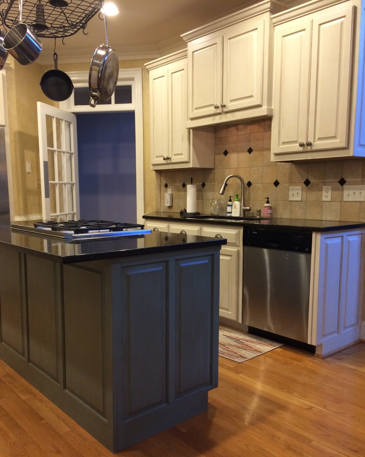 custom white perimeter kitchen cabinets painted glazed distressed blue green island raleigh