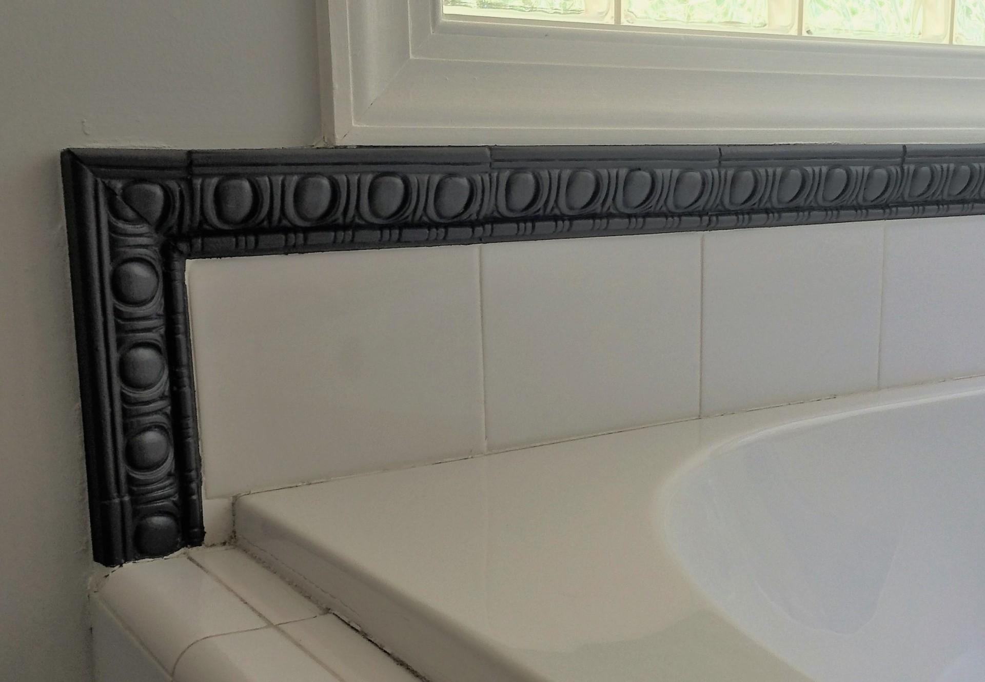 painted pewter beyond garden tub master bathroom accent tile, fabulous finishes by michelle