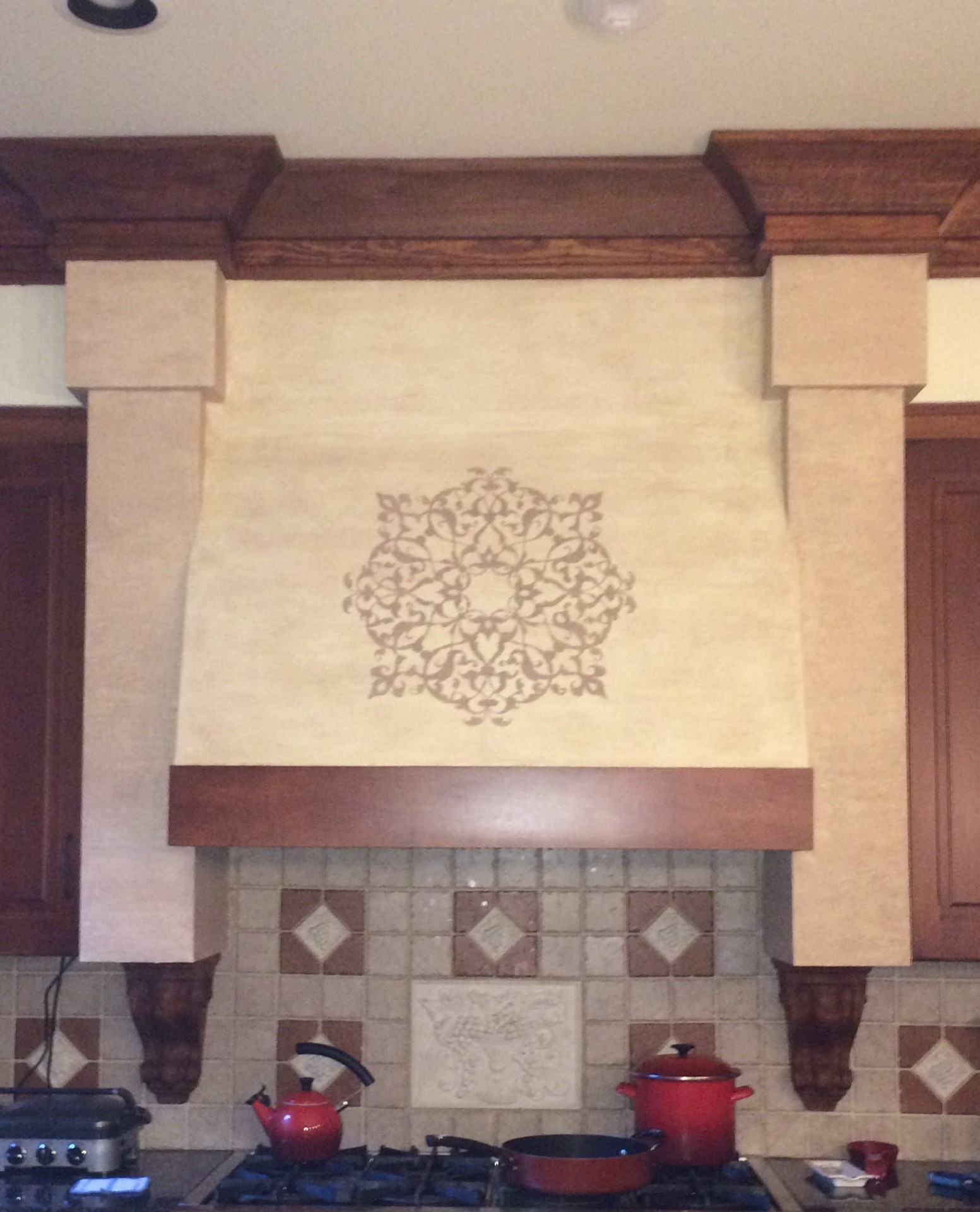 custom large stencil, modello, stucco, range hood, italian design, chapel hill, fabulous finishes by michelle
