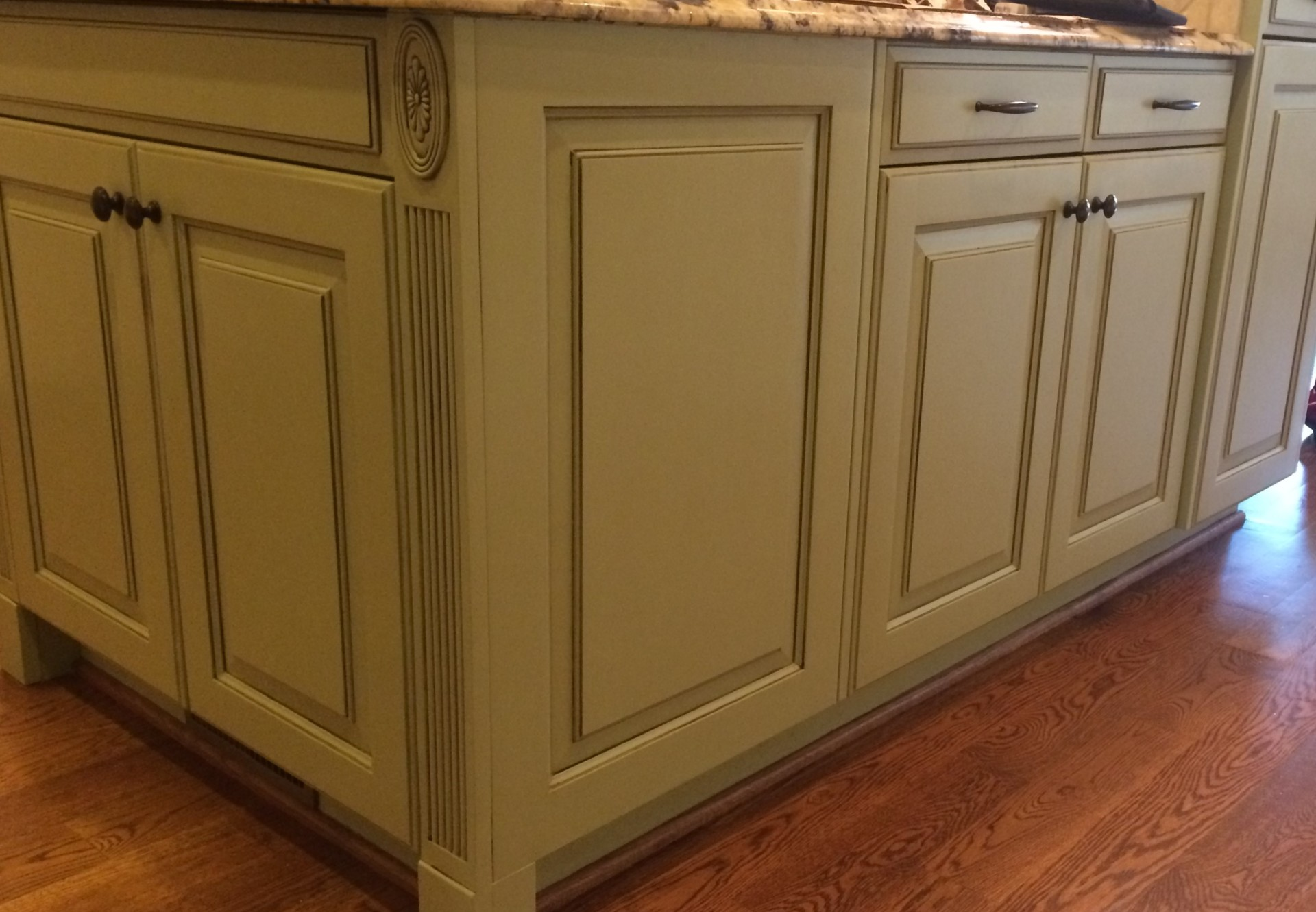 glazed kitchen island georgian green benjamin moore garner nc