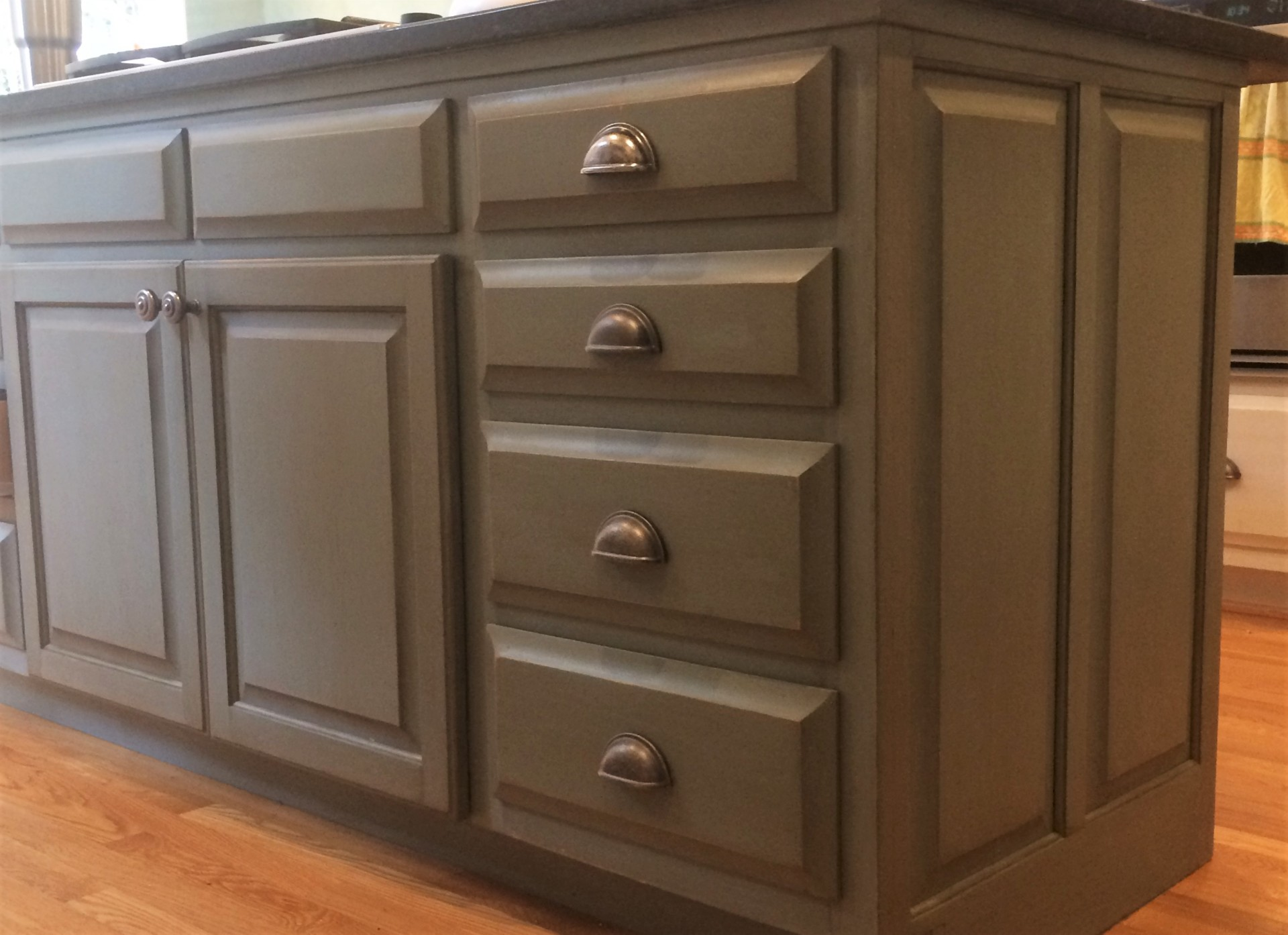 custom blue gray kitchen island painted distressed raleigh beyond paint