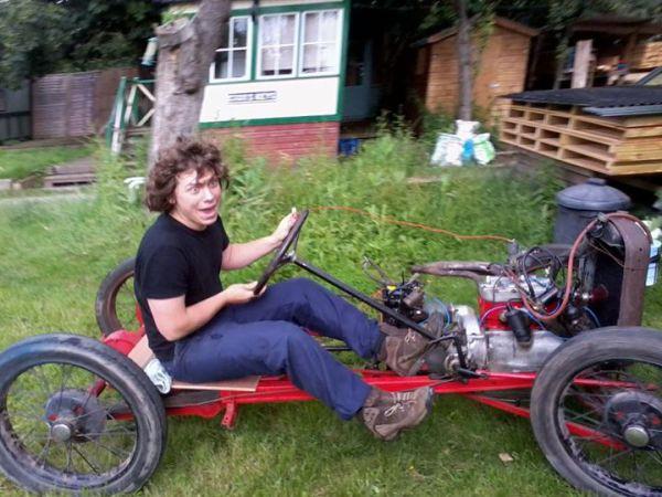 David doing something dangerous!