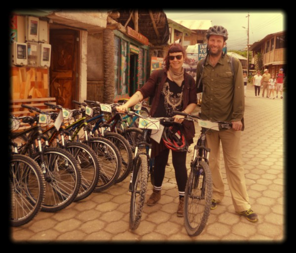 Rosemary (Canada) and Micah (USA) riding our bikes!
