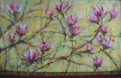 Magnolias with red field