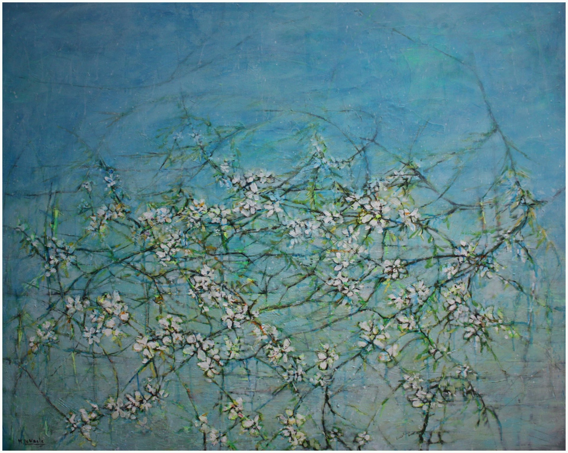 flowers in soft blue background