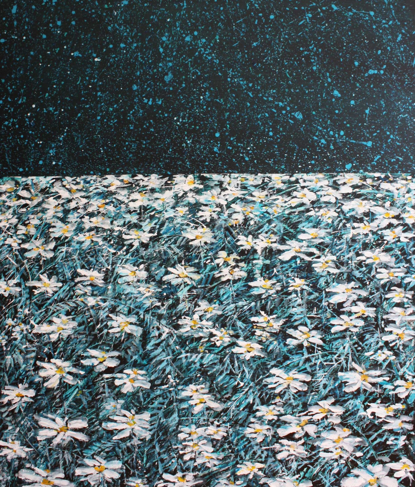 Daisies under abstract sky