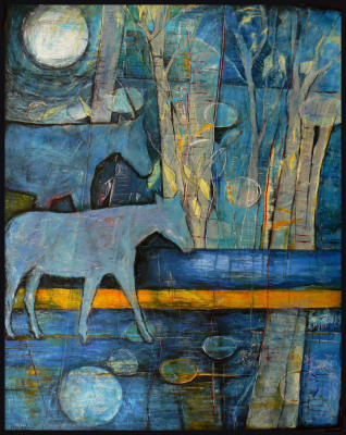 2 blue horses : 60 x 48 incjes