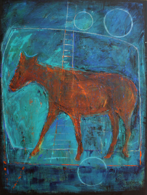 Horse in blue background