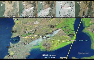 Mumbai, Fire, satellite, Landsat, MODIS, Aerosols, SatAQ