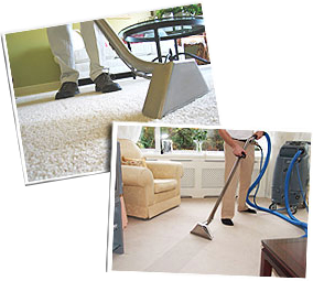 Two images in one frame both of steam carpet cleaning and water extraction