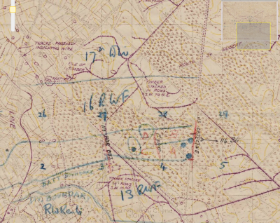 Trench map from 1918 showing objectives of 38th Welsh Division