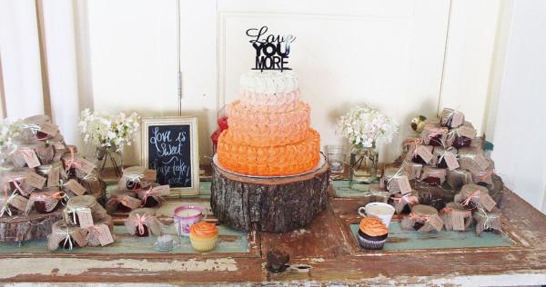 Ombre rosetta wedding cake