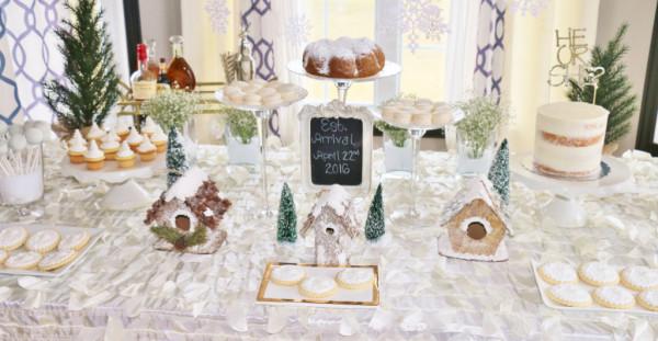 Gender reveal cake winter dessert table