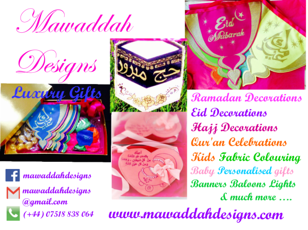 MAWADDAH DESIGNS - Handmade, screen-printed Ramadan, Eid and Hajj bunting, gift boxes, personalised baby bunting, box sets for aqeeqas and childrens fabric colouring box sets.
