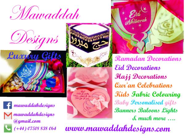 MAWADDAH DESIGNS - Handmade, screen-printed Ramadan, Eid and Hajj bunting, gift boxes, personalised baby bunting, box sets for aqeeqas and childrens fabric colouring box sets.