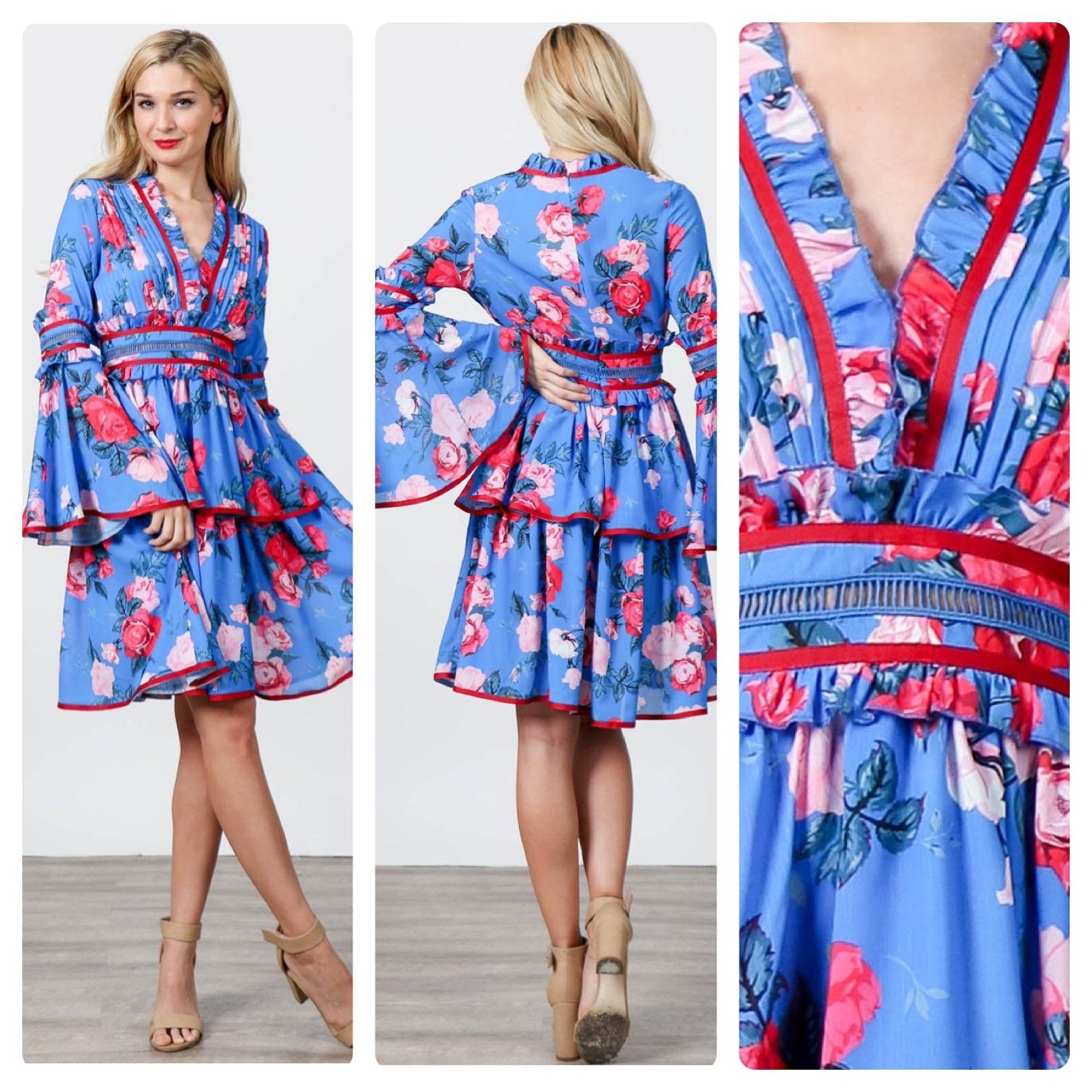 SPRING FLORAL DRESS   $65