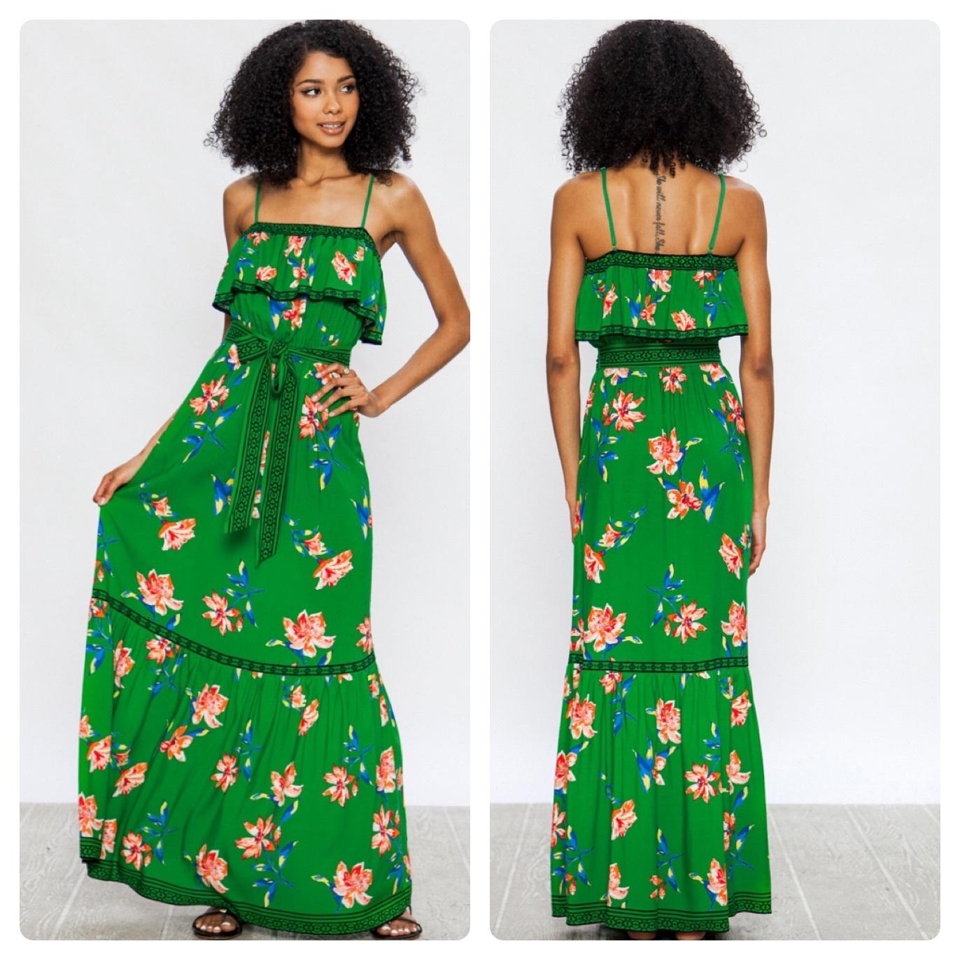 GREEN FLORAL DRESS  $60
