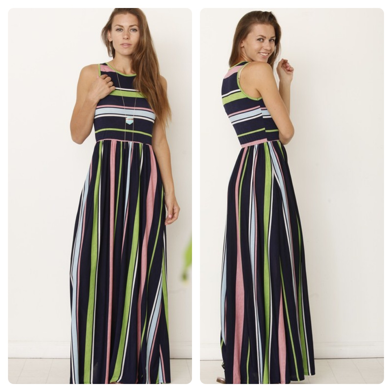GREEN STRIPE MAXI   $40