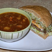 Whole Wheat, Roast Beef, Aged Cheddar with Vegetable Beef Soup