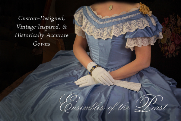 Ensembles of the Past - Historically accurate Gown - 1860's Ballgown - Blue silk