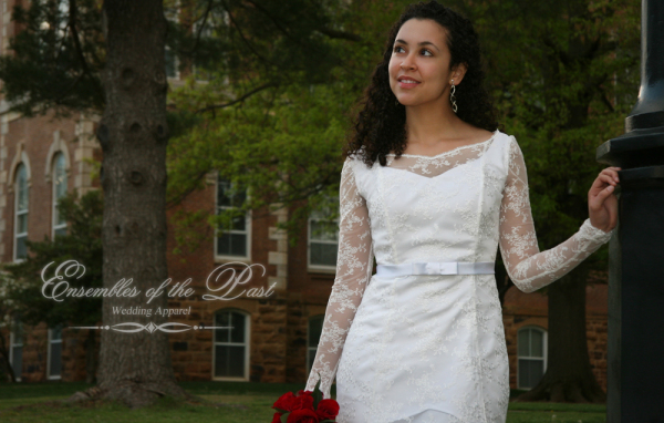 Ensembles of the Past - Wedding Apparel - Custom-made Wedding Gown - Lace Overlay
