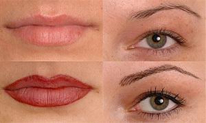 Eyebrows, eyeliner, lips